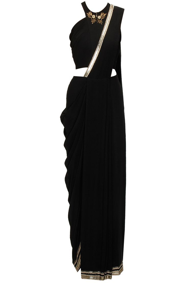 Black pre stitched drape sari with sequin embroidered blouse available only at Pernia's Pop-Up Shop.