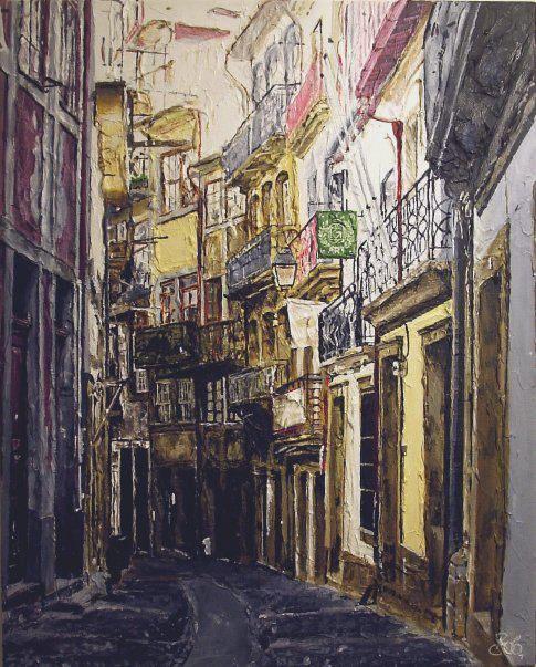 'A Street in Porto'.  Acrylic on canvas by Bob Gravenor.  www.facebook.com/BobGravenorFineArt