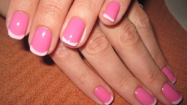 manicure acrylic nails pink | Hot Pink French Manicure