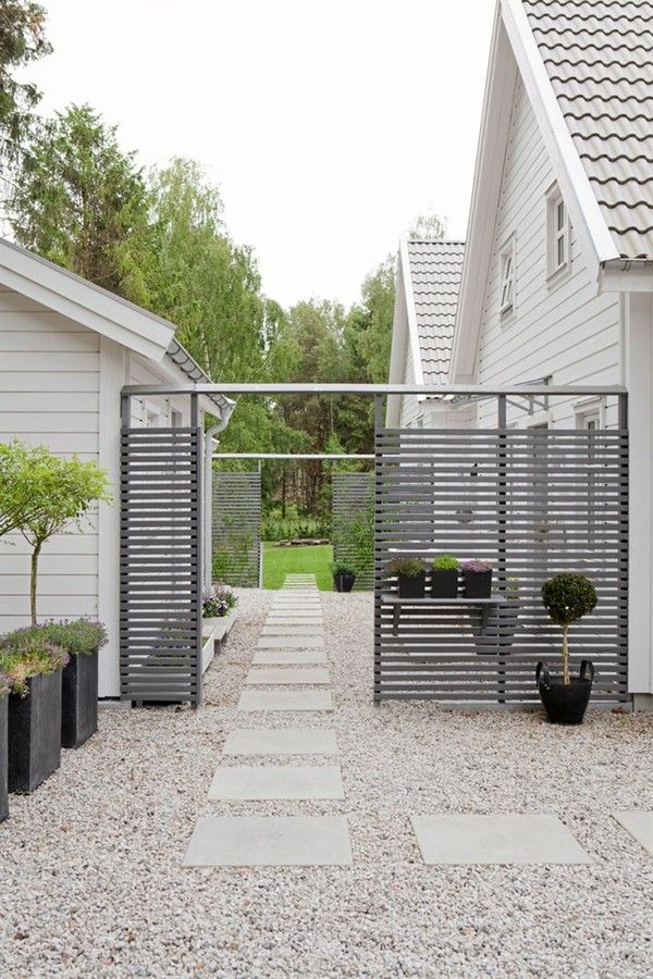 This kind of gate could be kind of neat on the side of the house. Also like the big pavers and gravel