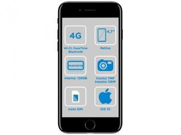 "iPhone 7 Apple 128GB Preto Brilhante 4G 4,7""Retina - Câm. 12MP + Selfie 7MP iOS 10 Proc. Chip A10"