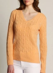 Women's Cable V-neck Peach  100 % Cashmere  www.softgoat.com