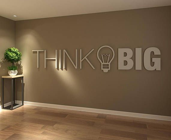 Think Big Office Wall Art Decor 3d Pvc Typography