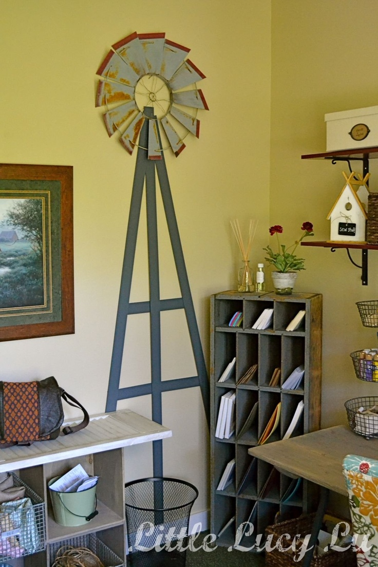 Windmill idea in the COOLEST country craft room ever!