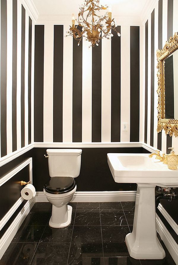 Black And White Bathroom With Golden Charm Decoist