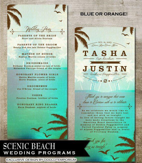 Tropical Beach Wedding Programs Digital by OddLotEmporium on Etsy