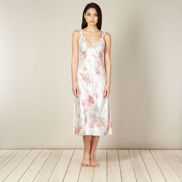 Cream long floral satin night dress