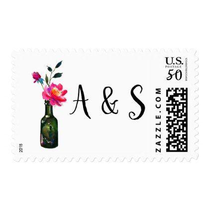 Vintage Floral Watercolor Custom Postage Stamp - floral style flower flowers stylish diy personalize
