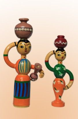 Wooden Rural Women Doll with pot (Pack of 2 )