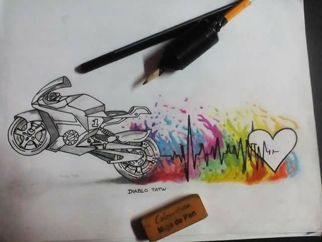 Motorcycle, hearth and watercolor tattoo idea.                                                                                                                                                                                 More