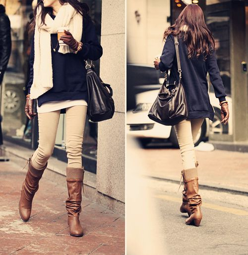 Oversized sweater, cream skinnys, scarf and boots.