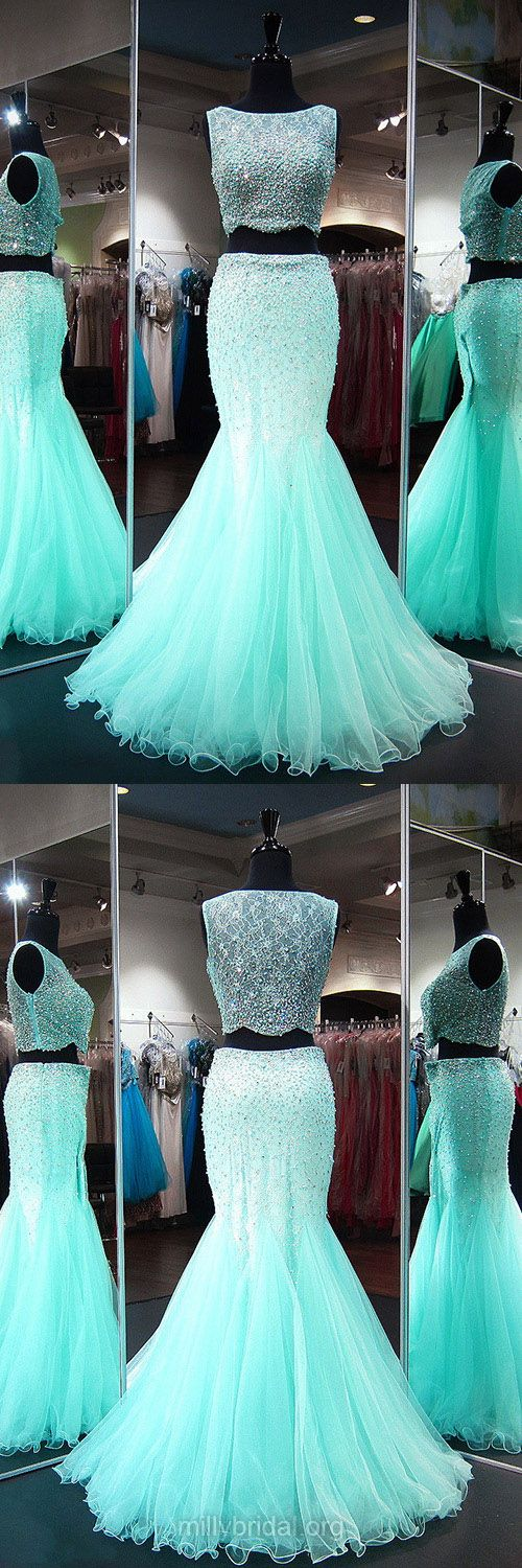Two Piece Prom Dresses, Blue Prom Dresses, Long Prom Dresses, Trumpet/Mermaid Prom Dresses Lace, Scoop Neck Tulle Prom Dresses Beading
