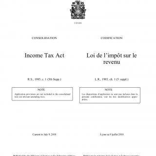 CANADA CONSOLIDATION CODIFICATION Income Tax Act Loi de l'impôt sur le revenu R.S., 1985, c. 1 (5th Supp.) L.R., 1985, ch. 1 (5e suppl.) NOTE NOTE Applicati. http://slidehot.com/resources/canad-aincome-tax-pdf.61772/