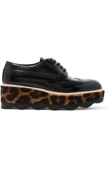 Prada - Glossed-leather And Leopard-print Calf Hair Platform Brogues - Black