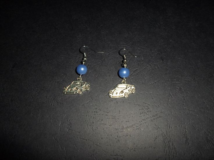 Car earrings with beads. by SiDaStyle on Etsy