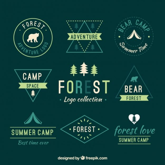Collection of green nature logos Free Vector