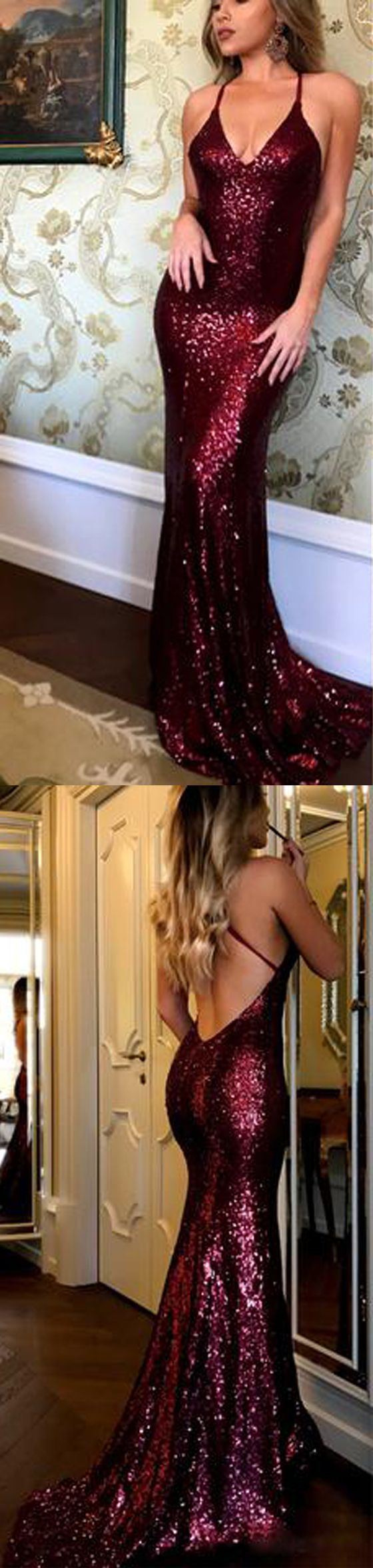 Burgundy Sequin Cheap Shinning Sexy Open Back Long Prom Dresses, PM0783 #promdress #longpromdress