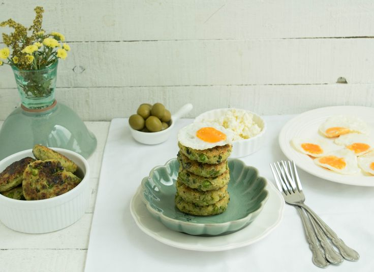 Gluten free, healthy potato pea and mint fritters topped with quail eggs for a complete meal.