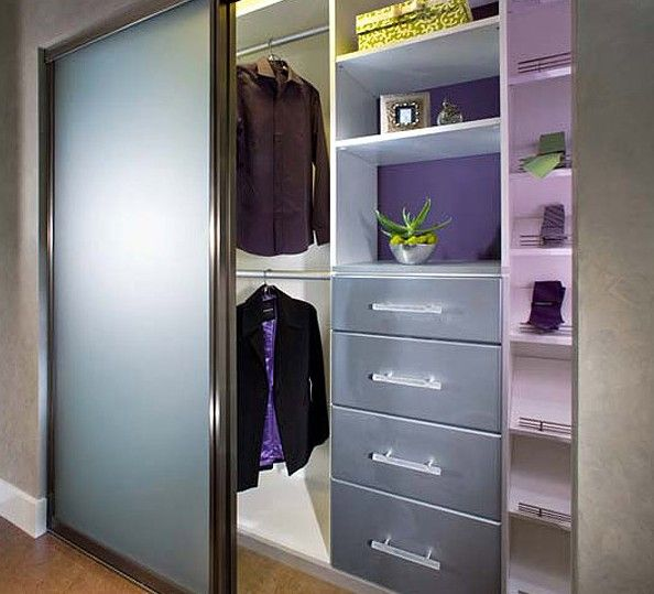 Sandblasted glass doors and purple walls give this reach in closet tons of  personality. 55 best Reach In Closet Organizers images on Pinterest
