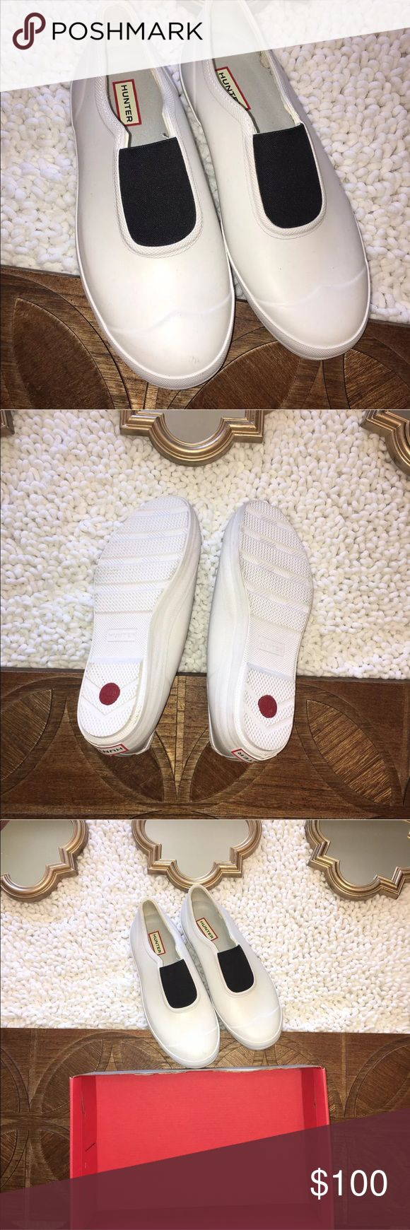 New Hunter White Plimsole Waterproof Rubber Shoes New with box Hunter Women's Slip On Rubber Shoes. White with black center. Size 10. Retail: $115.00 Hunter Shoes