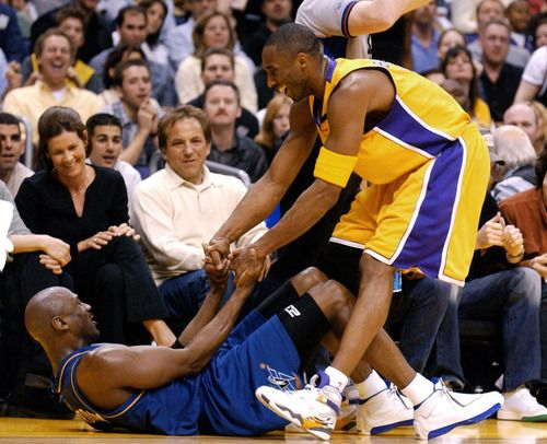 Kobe Helping Mike Up, '03.