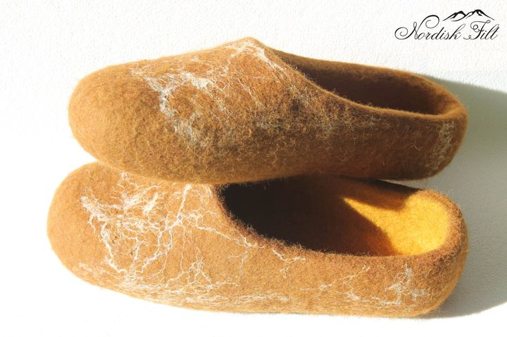 Felted wool slippers-Home shoes-brown by NordiskFilt on Etsy