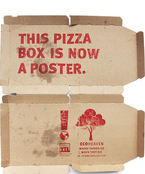 Ad campaign in Kuala Lumpur used discarded items like pizza boxes as posters
