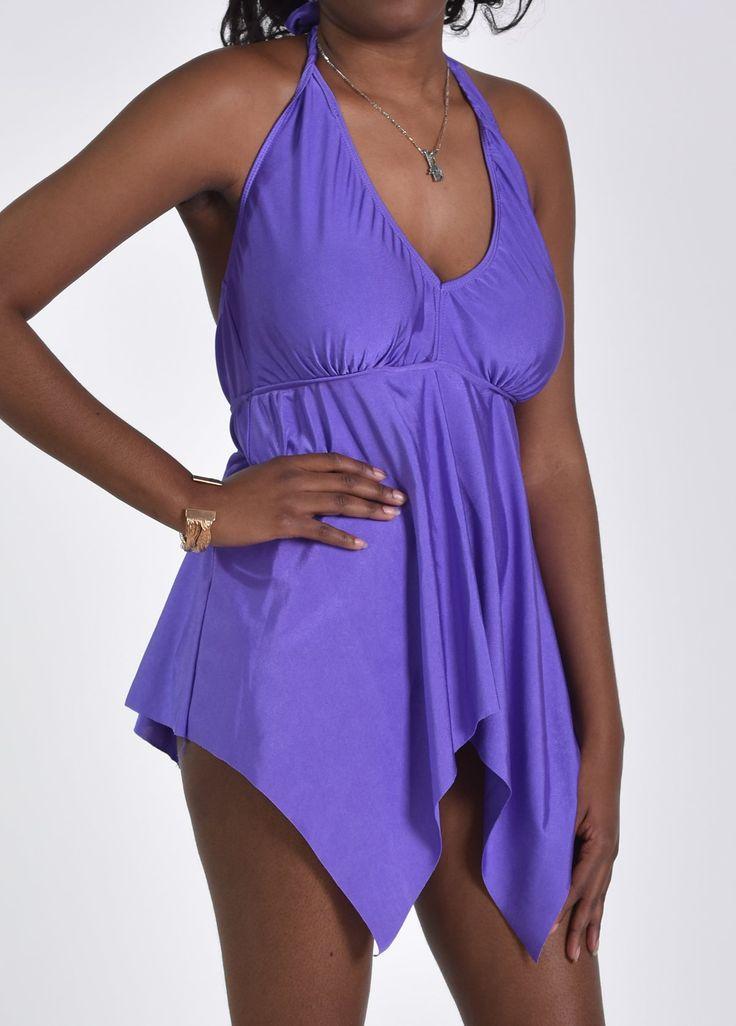 Open Back V Neck Purple One Piece Swimwear on sale only US$23.92 now, buy cheap Open Back V Neck Purple One Piece Swimwear at lulugal.com