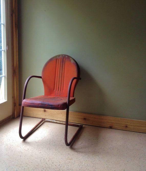 Vintage Metal Lawn Chair Garden Chair Rustic Beauty