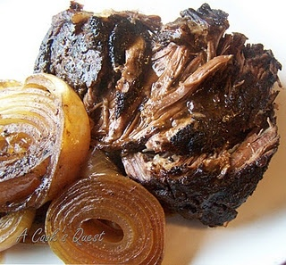 Balsamic and Onion Pot RoastPot Roast, Onions Pots, Pots Roasted, Crock Pots, Balsamic Pots, Roasts, Slow Cooker, Cooking Quest, Potroast