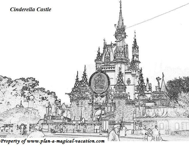 Adult coloring pages disney coloring page 006 features for Cinderella castle coloring page