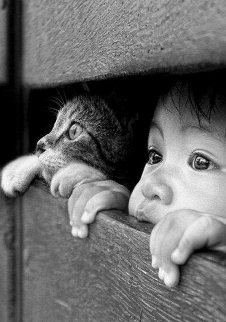 Really cute baby and copy cat   #black and white photography #ReallyCute