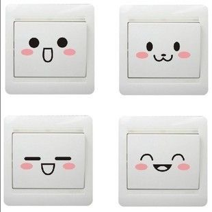 Specials ! Cartoon wall stickers decorative sticker switch socket stickers cute smiley stickers affixed doll face against the wall posts