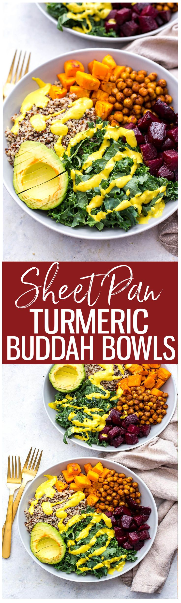 These Sheet Pan Buddha Bowls with Turmeric Tahini Dressing are a delicious, vegan make-ahead lunch idea that can be made almost all on one pan!