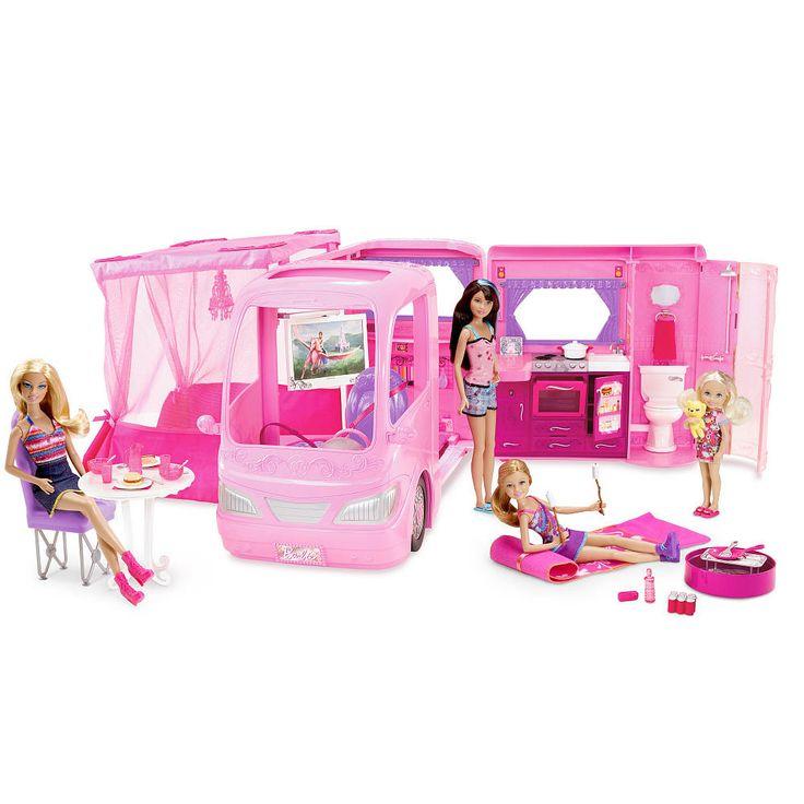 barbie pink glamour camper with dolls play set mattel toys