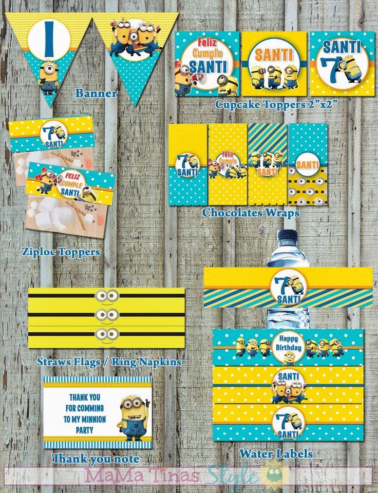 Printable Kit Minions Party!! Etiquetas personalizadas para fiestas.. no requiere papel adhesivo. #Minions #DespicableMe