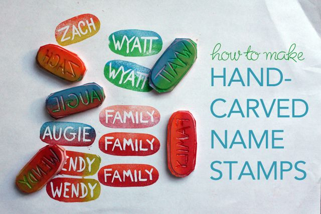 Hand Carved Name Stamp So easy and fun!: How To Make Carvings Stamps, Hands Carvings Stamps, Crafts Printable Diy, Stamps Make Stencil, Gifts Ideas, Names, Felt Copley, Stamps Making Stencil, Christmas Gifts
