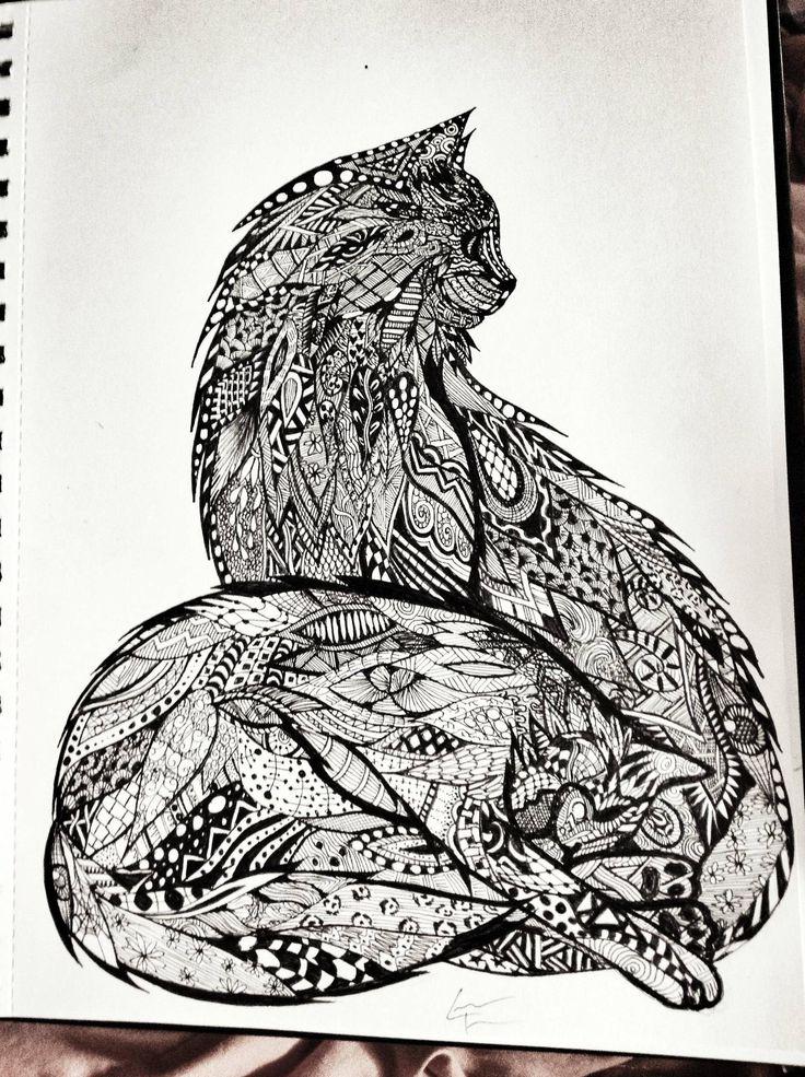 63 Best Cat Art Zentangles Images On Pinterest Print