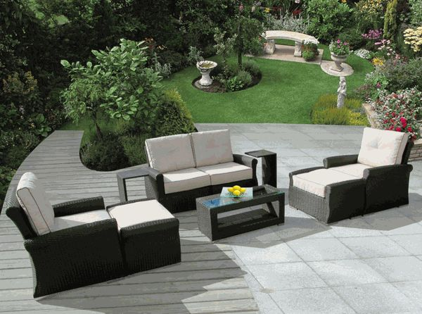 Limited Qty: Ohana Outdoor Luxury Patio Wicker Furniture Sectional Sofa 9  Pc Set With Sunbrella