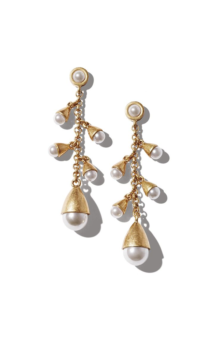 Wearable With Everything From Distressed Denim To Polished Suit Styles:  Waterfall Pearl Earrings  Cabi