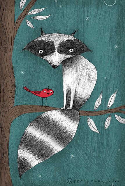 raccoon: Cushy Tail. And sweet little red bird. Beautiful illustration.:
