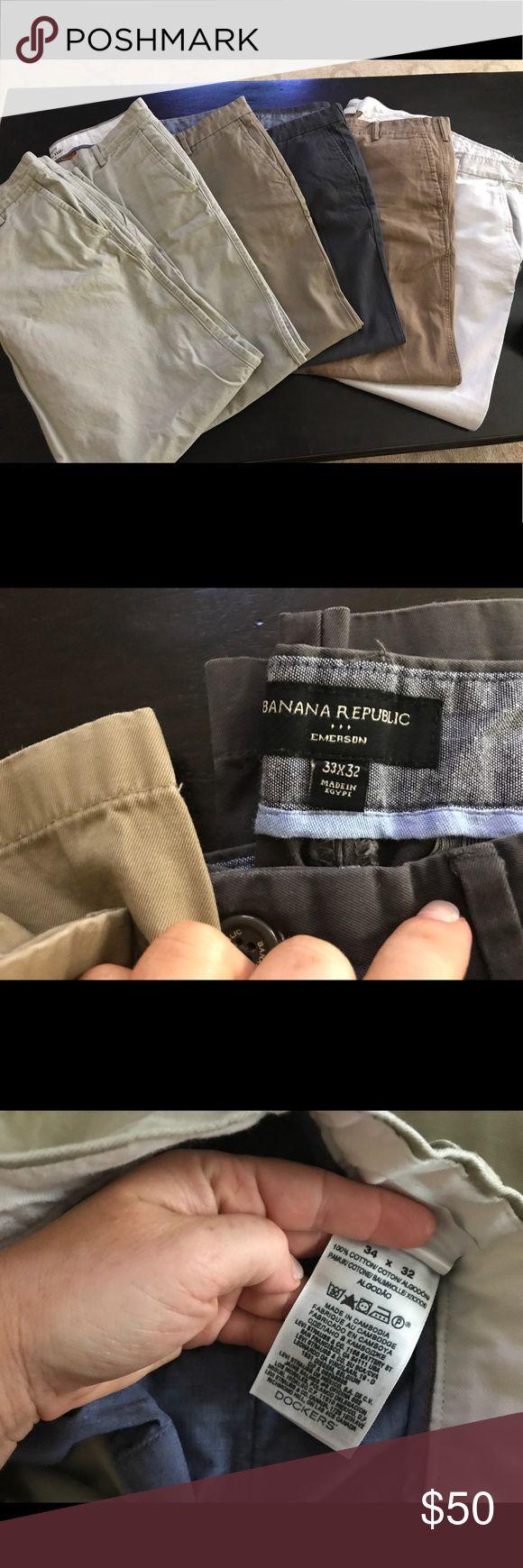Lot of 6 - Men's Khaki pants EUC / 34x32 and 33x32 men's khaki pants lot of 6.  Qty 2 dockers Qty 2 banana republic and Qty 2 gap. Gap and Dockers are 34x32 and Banana Republic are 33x32 Banana Republic Pants Chinos & Khakis
