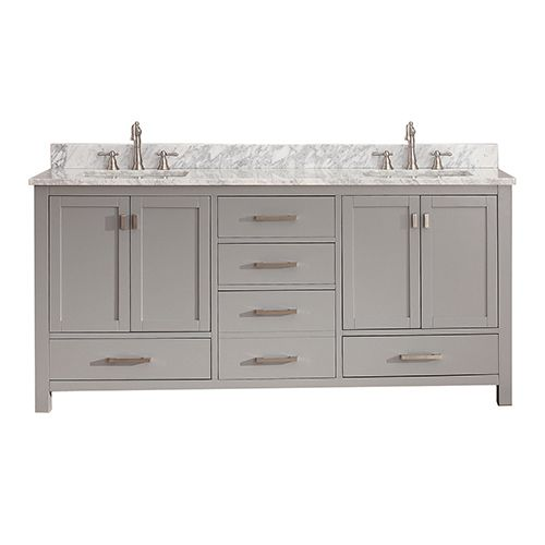 Modero Chilled Gray 72 Inch Double Vanity Combo With White Carrera Marble Top Avanity Vani