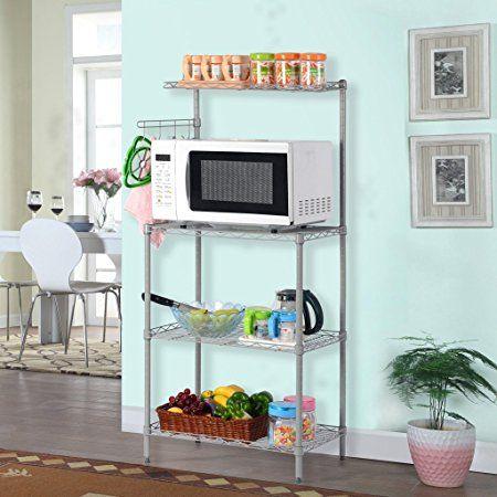 LANGRIA Multifunzione Scaffale Microonde Scaffalature Metalliche Spice Rack Organizer 3 Ripiani Salvaspazio, Silver Grey: Amazon.it: Casa e cucina