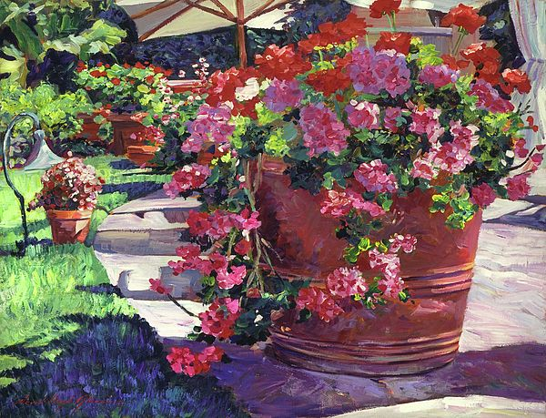 Geranium Color Pot Painting by David Lloyd Glover