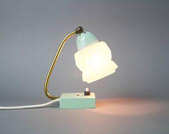 Lampada vintage anni ' 50 turchese, turchese lampada d'oro, metà del secolo moderno, lampada da terra Lampada da comodino, tavolino da notte, collo di cigno schermo turchese in metallo