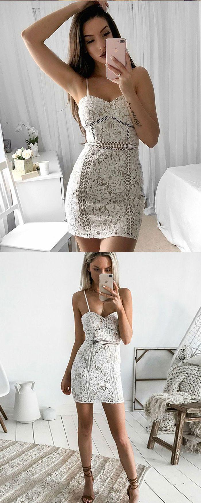 189b7b5ea8c4 spaghetti lace tight homecoming dress, bodycon short prom dress #homecoming