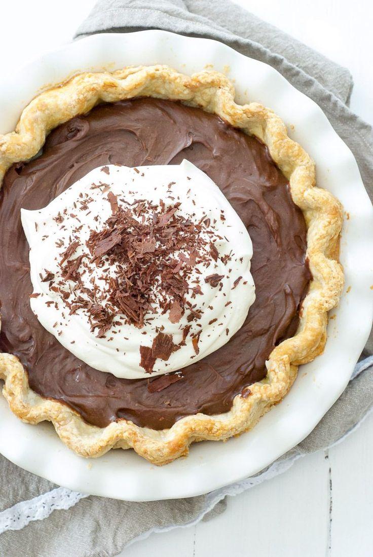 Toasted Marshmallow Chocolate Custard Pie | Oh So Delicioso