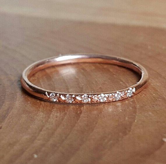 nice 14K Pink Gold Pave Diamond Ring 14K Stacking …