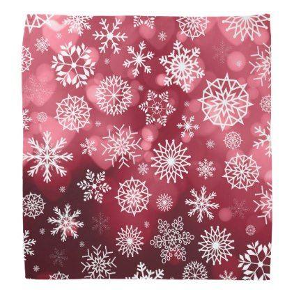 Snowflakes on a Valentine Background | Bandana - accessories accessory gift idea stylish unique custom